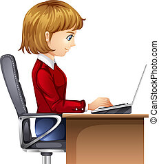 A woman in the office - Illustration of a woman in the...