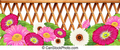 A garden of flowers with a fence - Illustration of a garden...