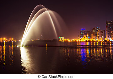 Musical fountain show - SHARJAH, UAE - OCTOBER 29, 2013:...