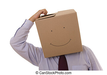 cardboad businessman face - cardboard businessman with a...