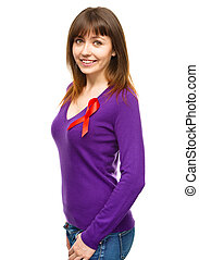 Woman with the red awareness ribbon - Portrait of a woman...