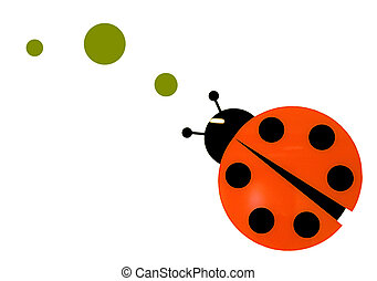 Lady Bug - Isolated lady bug following a trail of green dots