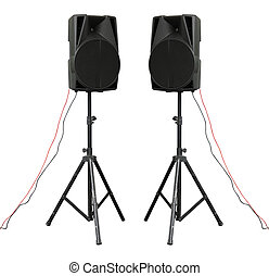 Large powerful Audio Speakers Isolated on White Background -...
