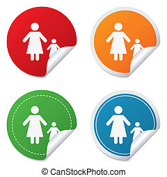 One-parent family with one child sign icon Mother with...