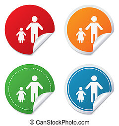 One-parent family with one child sign icon Father with...