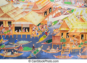 Thai mural painting of floating market on temple wall