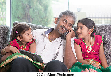 Phone calling to mummy - Husband making a phone call to wife...