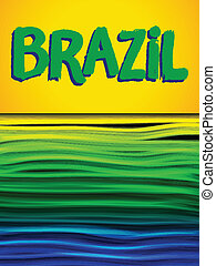 Brazil Flag Wave Yellow Green Blue Background