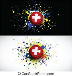 Switzerland flag with soccer ball dash on colorful...