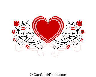 floral heart - illustrated heart with ornamental flowers and...