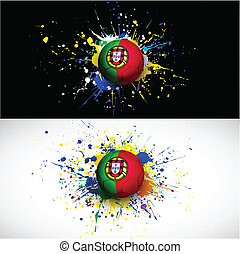 Portugal flag with soccer ball dash on colorful background,...
