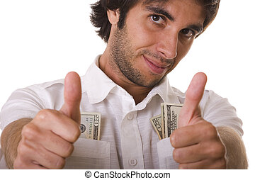 wealthy man - wealthy and happy man showing his money...