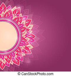 Half Round Pink Label on Dark Purple Background Shiny Floral...