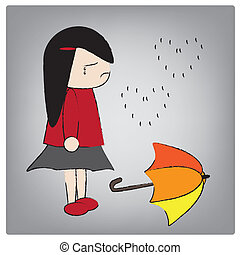 girl - Illustration girl crying in the rain