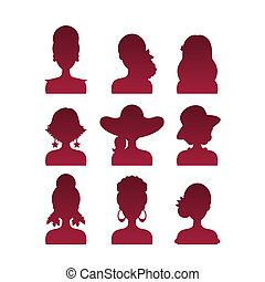 Set of Icons with Various Women Fashion Styles. Vector...