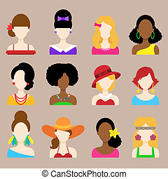Set of Flat Icons with Women Characters - Set of Flat Icons...