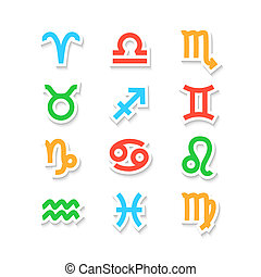Zodiac Symbol Icons Isolated on White - Zodiac Symbol icons...
