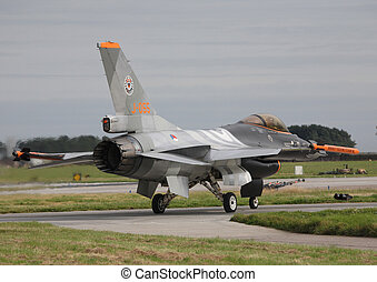 royal netherlands airforce f16 - rnlaf f16 taxing out raf...