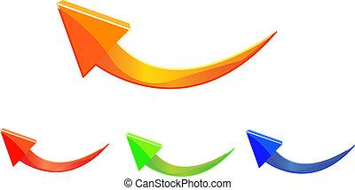 curved arrow icon set isolated on white background