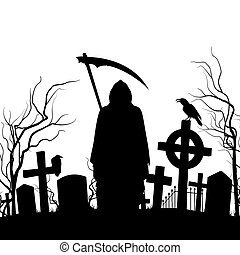 Graveyard - Silhouette of the cemetery on the white...