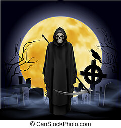 Ghost with a scythe on the graveyard. Night.