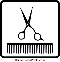 black icon with scissors and comb - black abstract icon with...