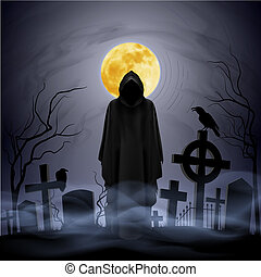 Night. Cemetery. - The black ghost on the cemetery. Yellow...