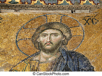 Mosaic of Jesus Chris, Hagia Sofia in Istanbul, Turkey