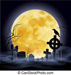 Cemetery - Cemetry at the night. Yellow moon. Headstone.