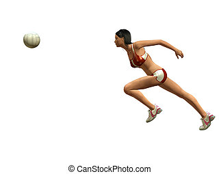 WOMAN PLAYING VOLLEYBALL - Woman wants to catch volleyball