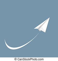 Vector illustration of white paper airplane, icon
