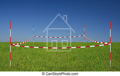 property on a meadow with blue sky