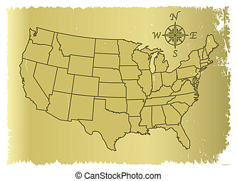 Old United States of America Map