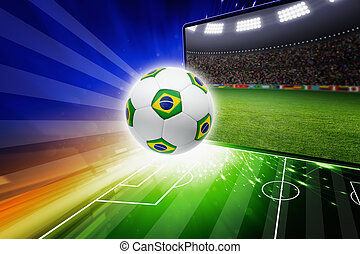 Brazil soccer live - Technology, sports background - soccer...