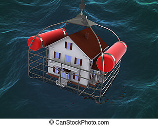 House in basket over water