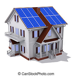 Solar panel house - Render of solar panel on roof house...