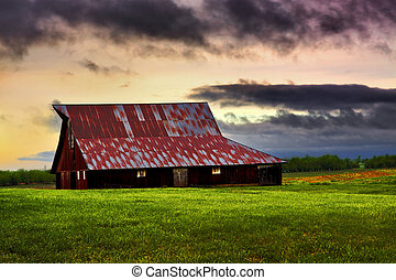 Barn in Field with Colorful Sky