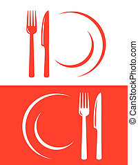 two restaurant icons - two red restaurant icons with fork...