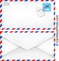 Airmail envelope with stamps.