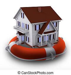 House on lifebuoy - Render of house on lifebuoy isolated