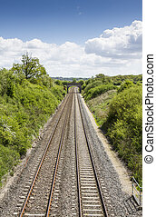 Two railway tracks viewed from above - Two railway tracks...