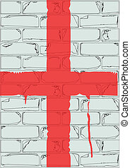 Saint George Cross - A white brick wall with the flag of...