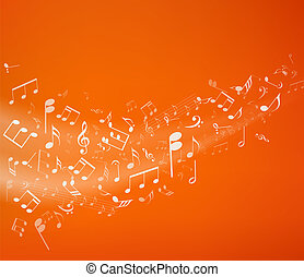 Music background - Orange music background. Vector...
