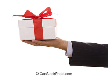 A gift for you! - a businessman offering a gift to you...