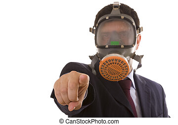 You are the guilty one! - businessman with a gas mask...