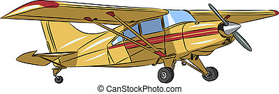 vector small sports plane - vector little yellow sports...