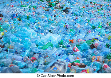 plastic waste - plastic bottle waste pile ready for recycle...