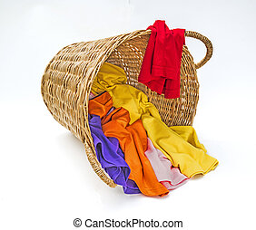 Clothes in wooden laundry basket