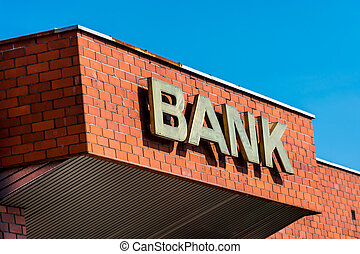 building with the inscription Bank