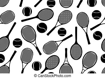 Tennis rackets seamless background isolated on white